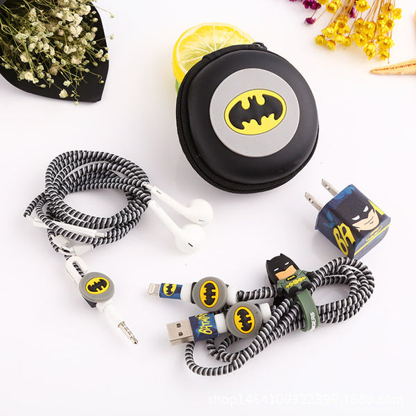 Batman USB Cable Earphone Protector Set With Earphone Box Cable Winder Stickers Spiral Cord Protector Suitable For Iphone 5, 6, 6s & 7 - FREE SHIPPING