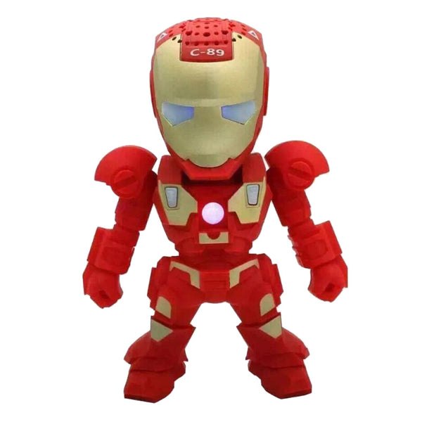 Iron Man Mini Wireless Portable Bluetooth Speaker with Children Style LED Light - Speakers Music Player with Support FM TF For Smartphones Tablets PC All Blutooth Devices - FREE SHIPPING