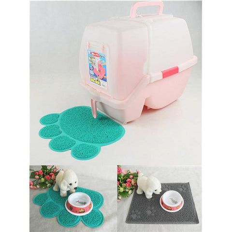New Arrival 1pc Cute Paw Shape Pet Dog Cat Puppy PVC Foot Mat For Dogs Cats Placemat Pet Supplies EJ673895