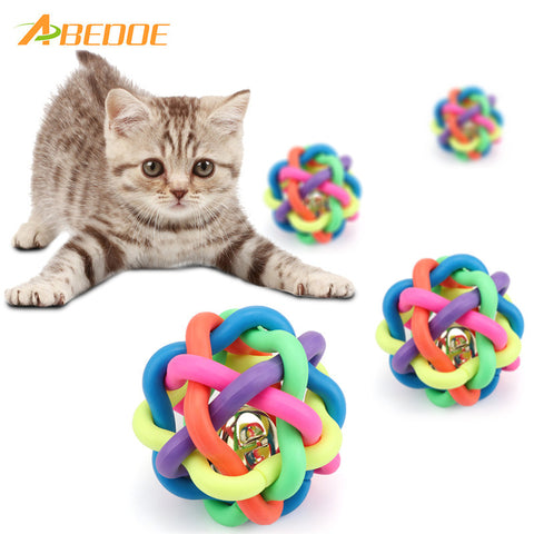ABEDOE 1pcs Colorful Pet Dog Cat Toy Rubber Round Ball with Bell Toy for Small Medium Large Dog Puppy Gift Pet Supplies
