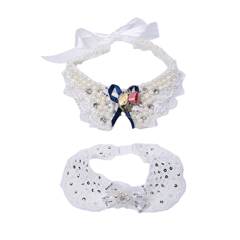 Pet Dog Cat Detachable Collar Bow tie Pearl Model Bowtie Pet Supplies  Cat Grooming Necktie Drop Shipping