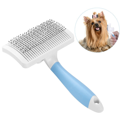 UEETEK Self Cleaning Slicker Brush for Dogs and Cats Pet Slicker Brush with a Press Button to Remove Mats Tangles and Loose Fur Easy to Clean Suitable for Long or Short Hair - L