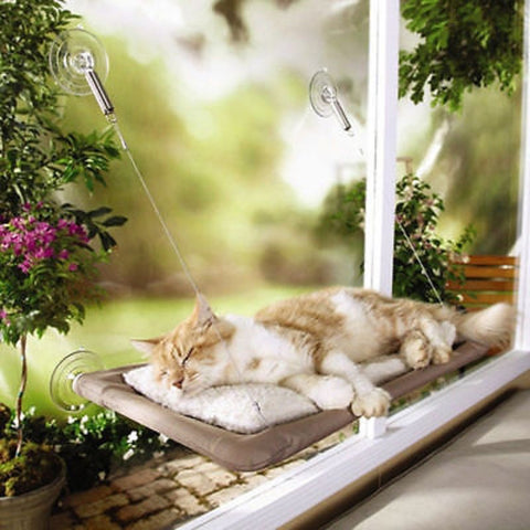 Washable Pet Supplies Space Saving Pet Cat Hammock Window Mounted Bed Sofa Mat Cushion Hanging Shelf Resting Seat with Suction