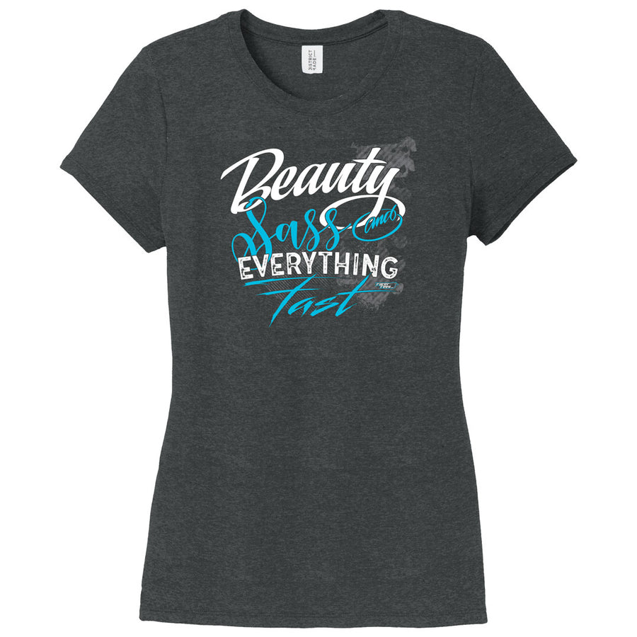 Beauty, Sass & Everything Fast Womens Triblend Tee | Black Frost