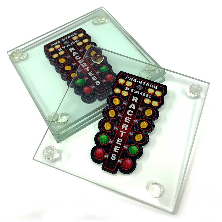 Drag Racing Tree Glass Drink Coasters
