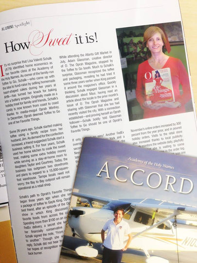 Toffee to Go's Lisa Schalk for your Alumni Spotlight in the Spring 2014 issue of Accord Magazine