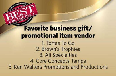 Winner of the Tampa Bay Business Journal's Best in the Biz - Best Business Gift in Tampa Bay