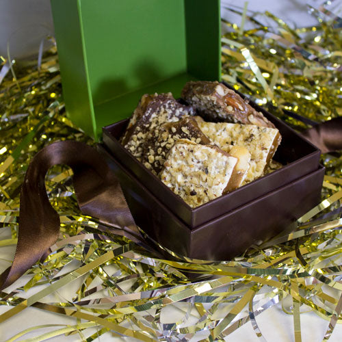 From hostess gifts to teacher gifts, client gifts to friend and family gifts — everyone loves receiving a box of our scrumptious handmade toffee.
