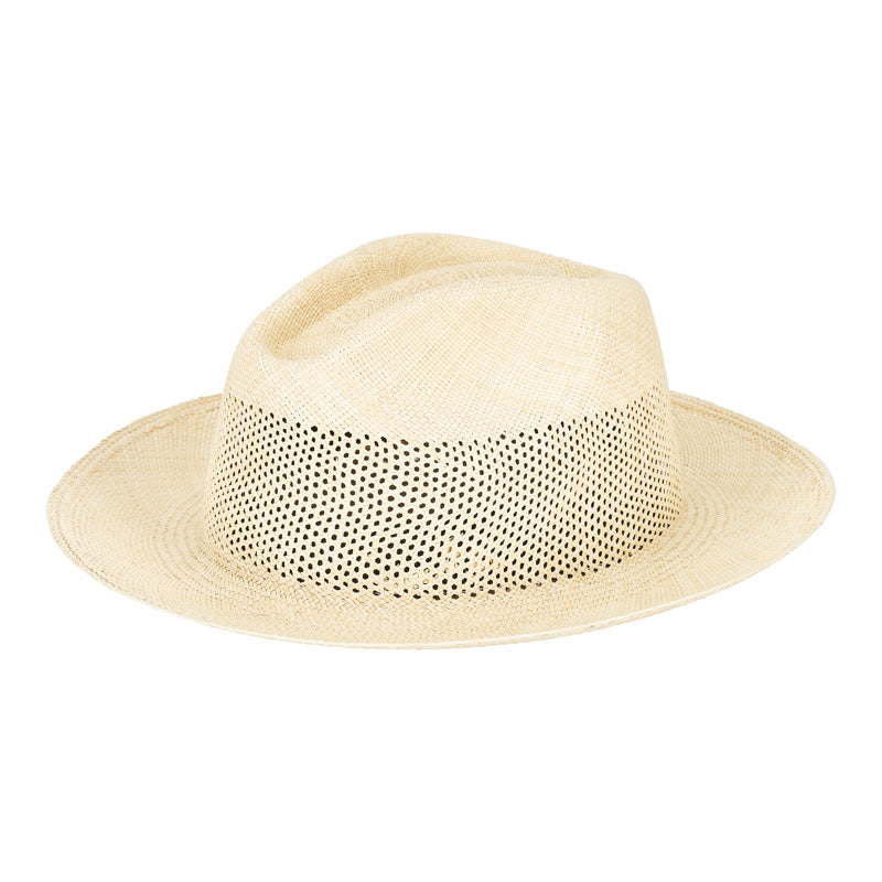woven straw boater hat side view