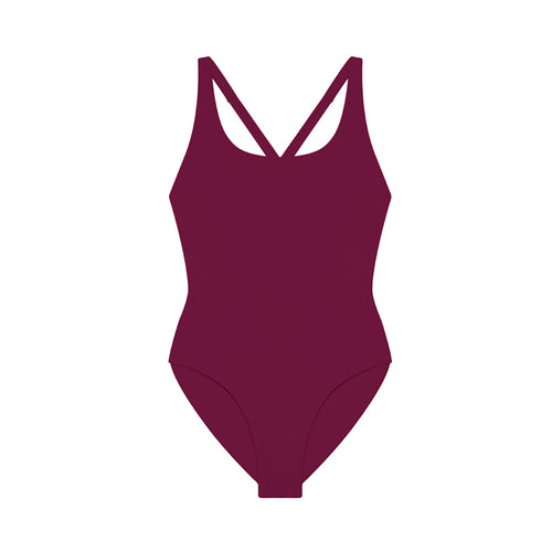 burgundy open back one piece swimsuit