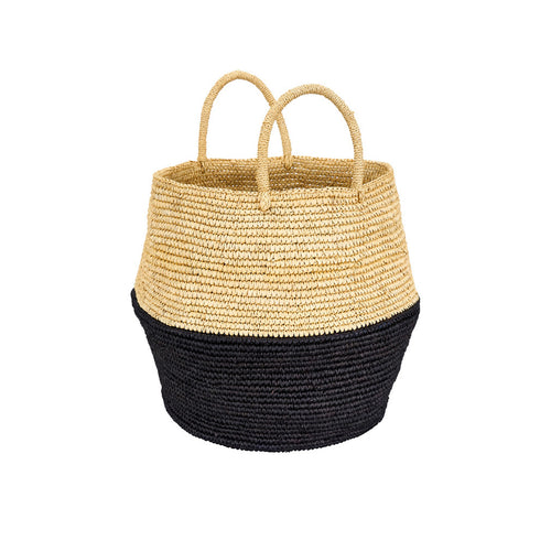Bahia color-block woven basket tote