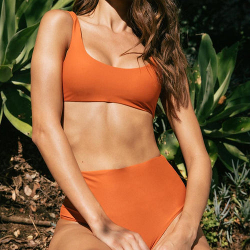 Bound high waist bikini briefs in Amber