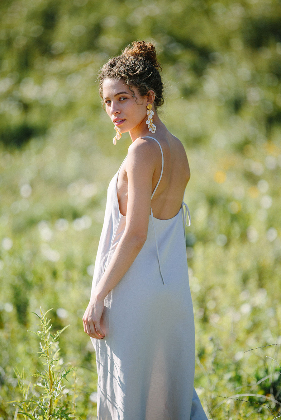 Cala slip dress in Bone