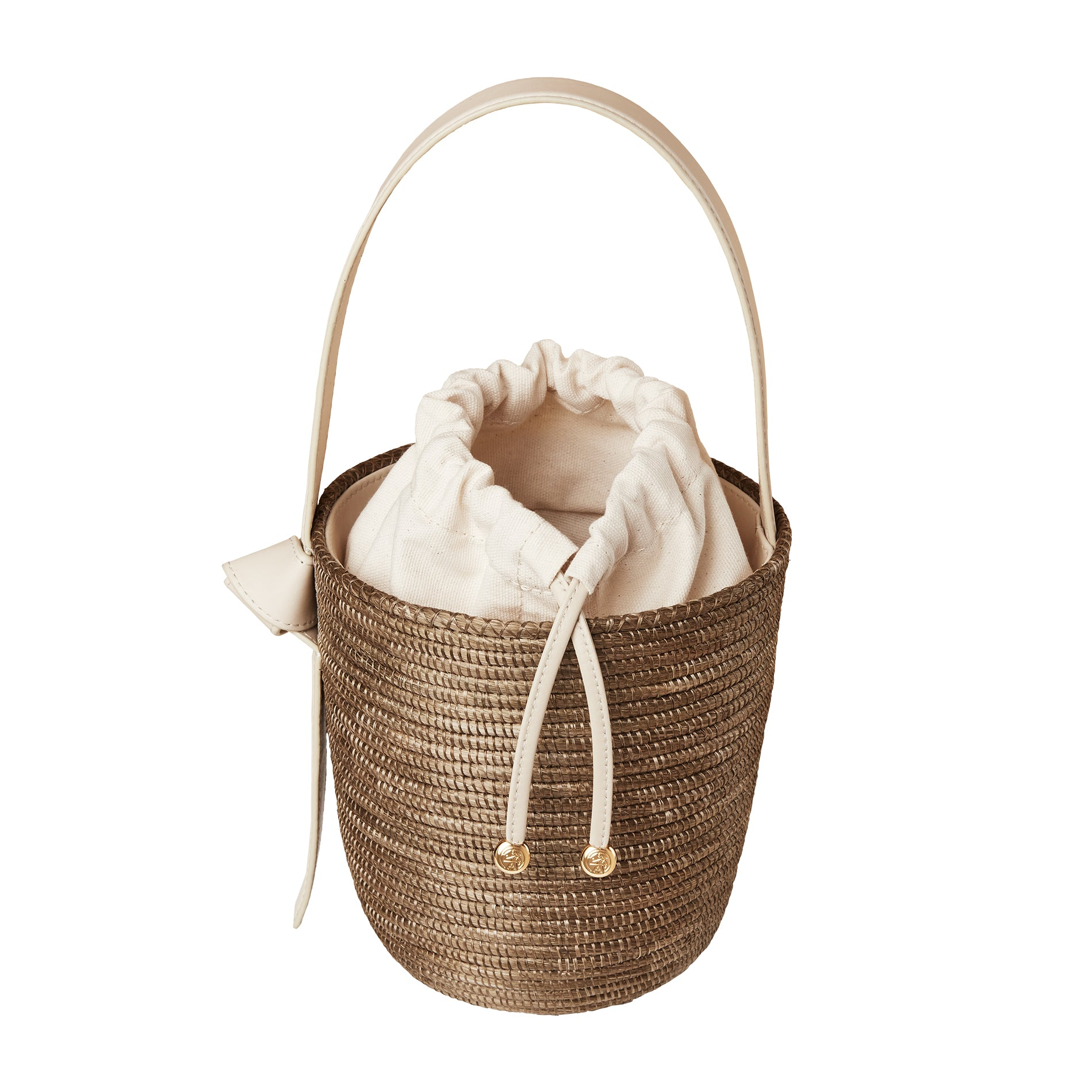 Taupe Cream Lunchpail basket bag
