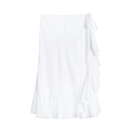Ruffle organic cotton wrap skirt