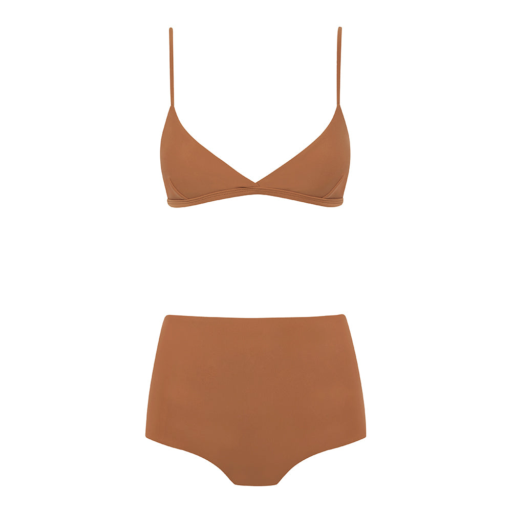 Matteau high waisted almond bikini bottoms and top