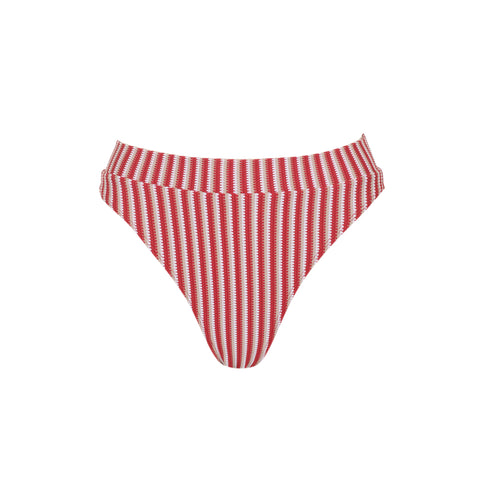 Bound high waist bikini briefs in Ribbed Red
