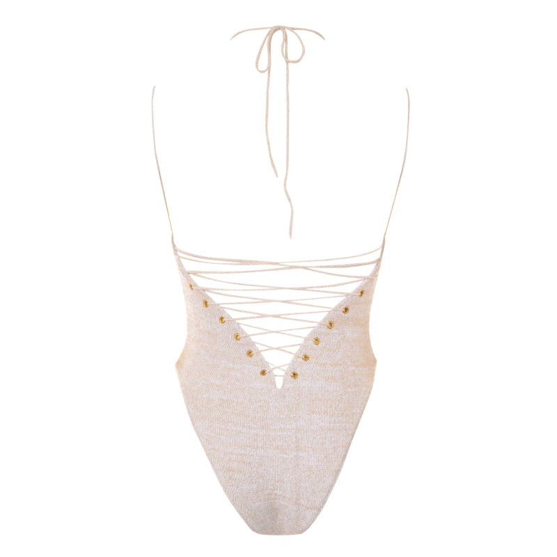 Crystal lace up back one piece swimsuit