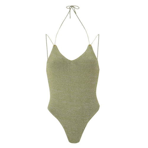 Moss lace up back one piece swimsuit