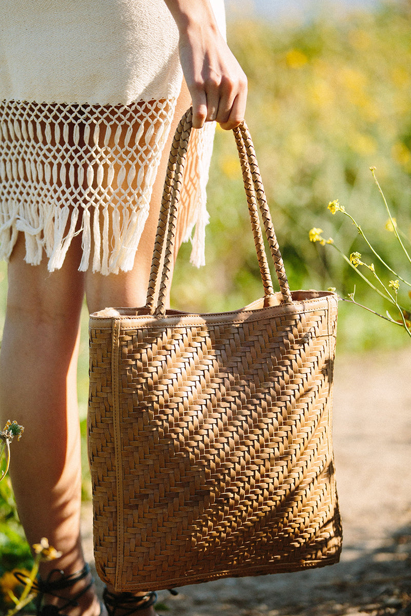Le Tote woven leather bag