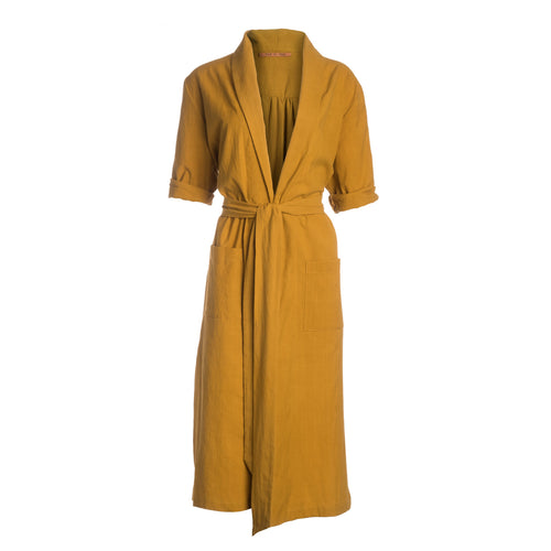 Playa cotton robe in mustard