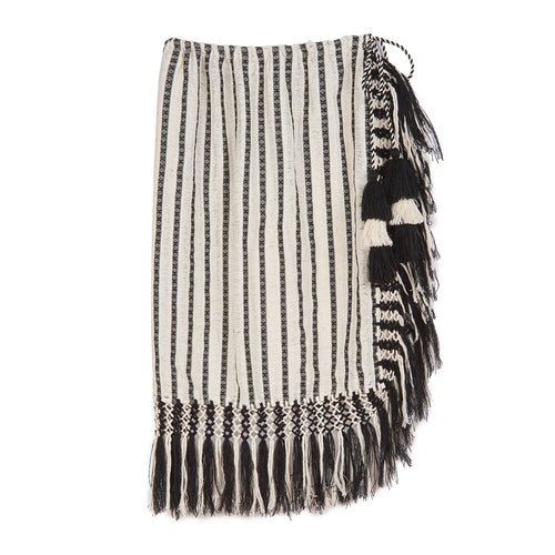 Nieves black and ecru handwoven pareo skirt