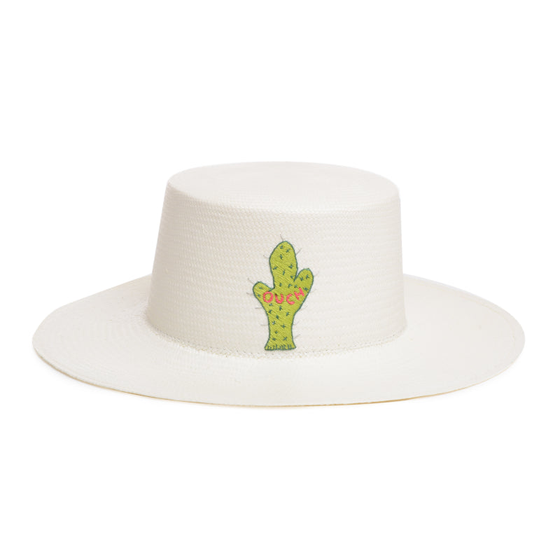 Ouch embroidered cactus boater hat