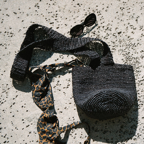 Puebla crochet crossbody bag in black