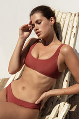 Rounded Edges bikini top in Ribbed Red
