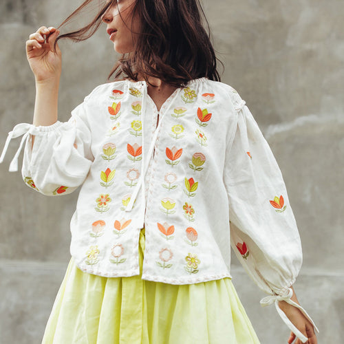 Embroidered white linen smock top