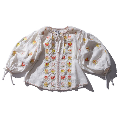 63117c48d4 Embroidered white linen smock top