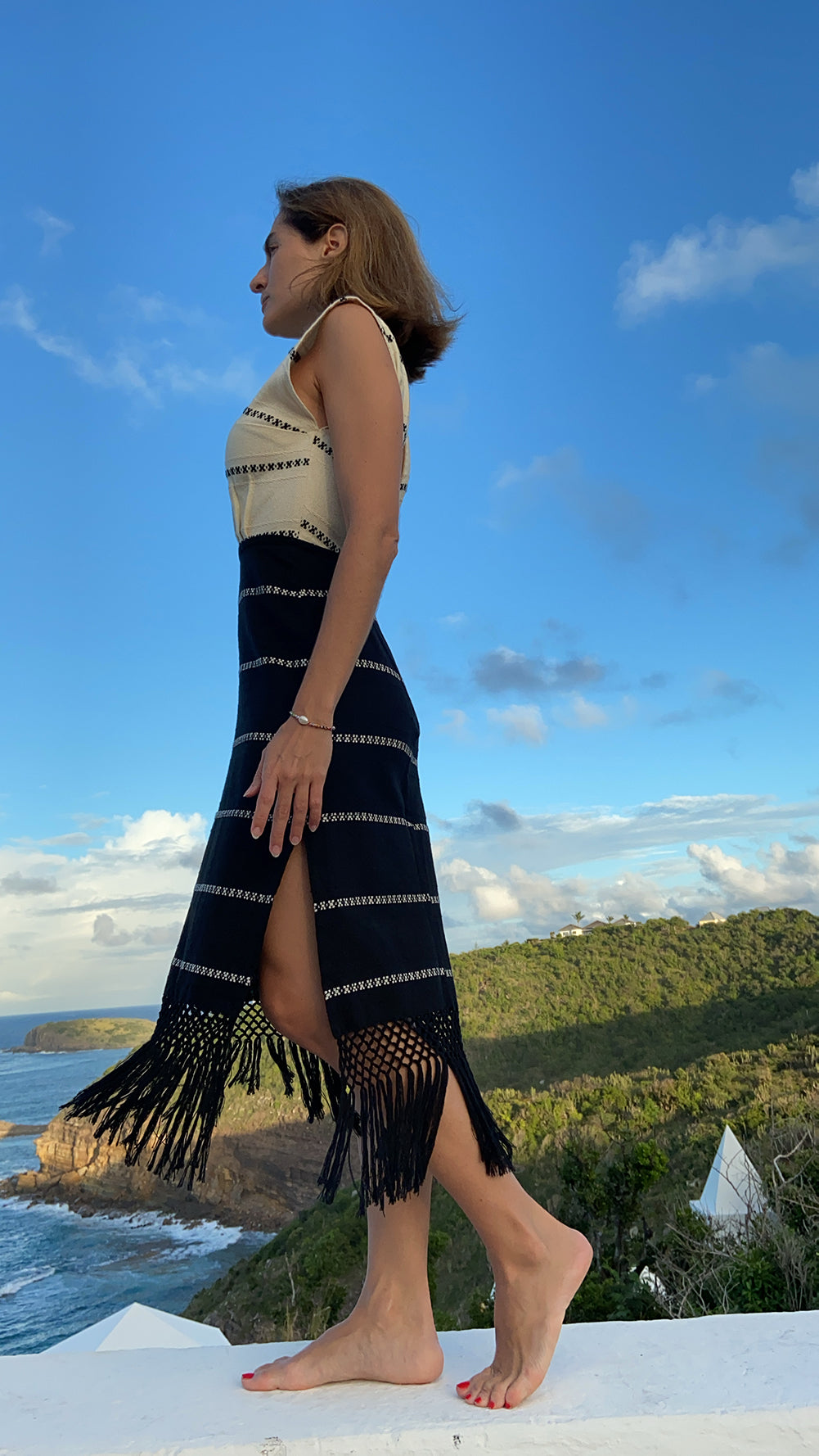 Yalitza black and ecru handwoven dress