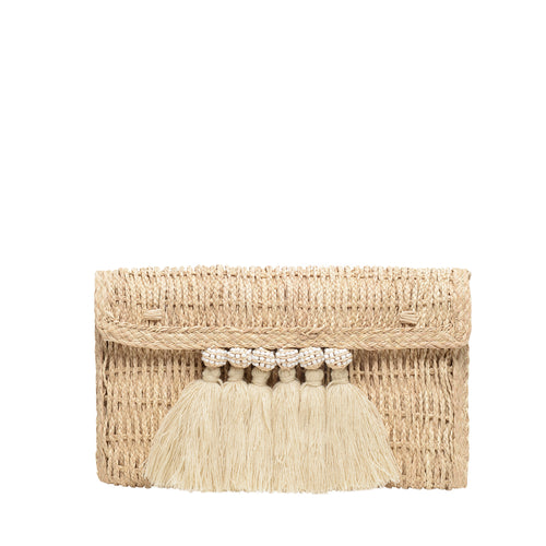 Baru beaded woven iraca palm clutch
