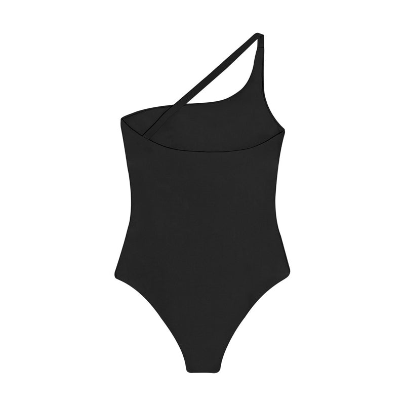 back view of black one piece swimsuit with cut out detail and tie