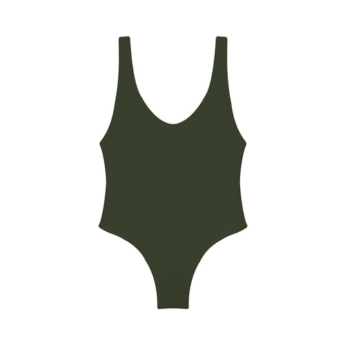 olive green one piece swimsuit with low back
