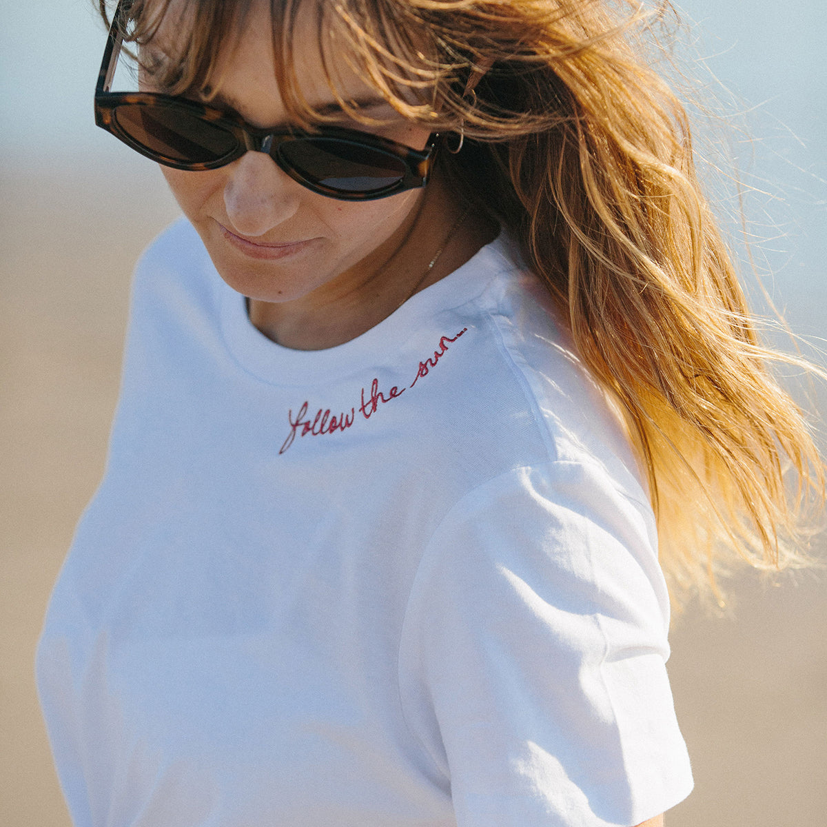 Follow The Sun embroidered tee