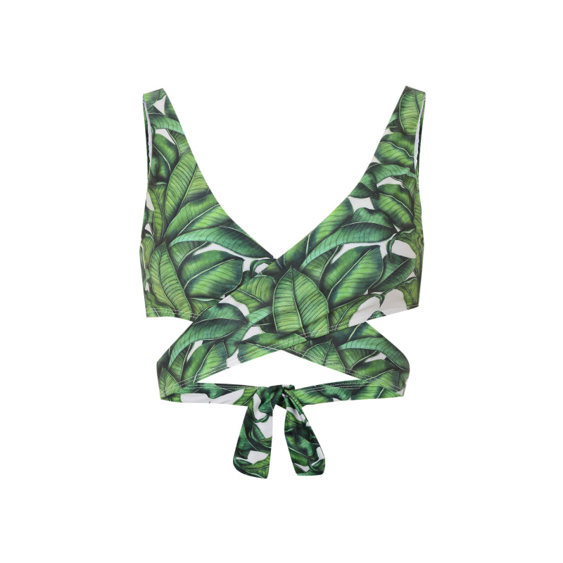 palm print bikini top with cut out detail