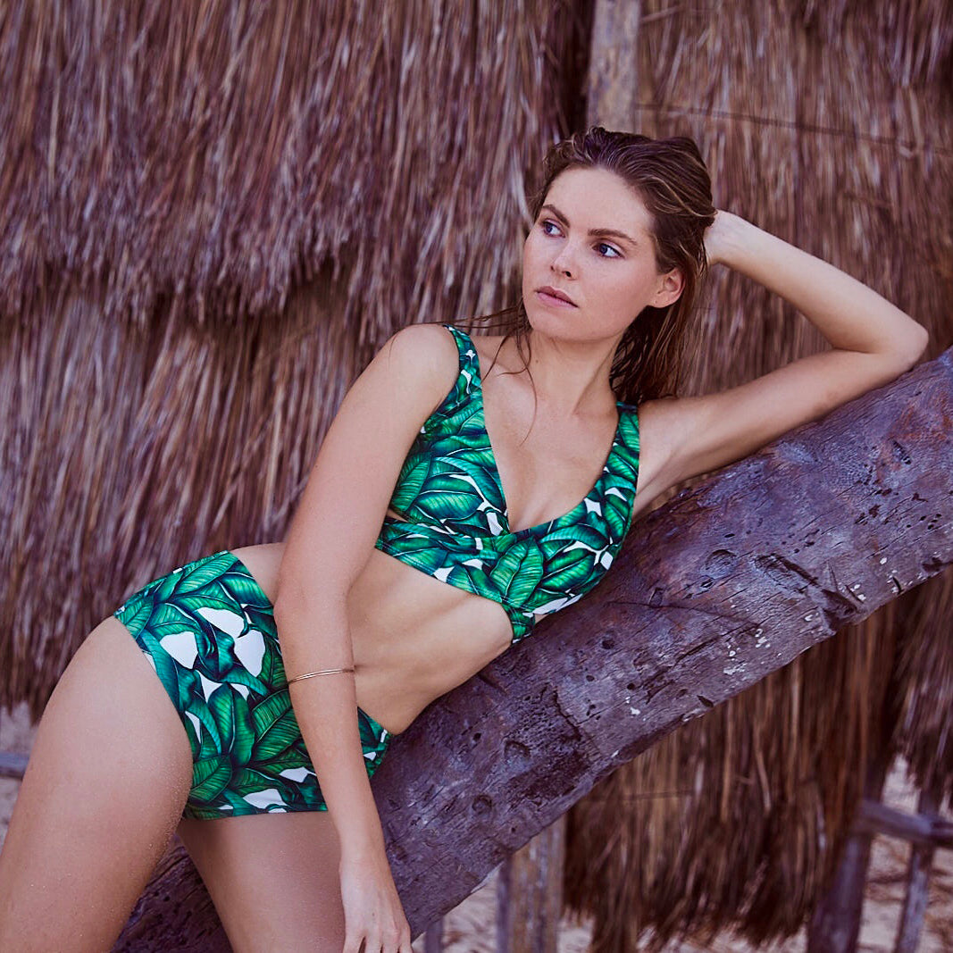 Kobe tropical leaf print bikini top