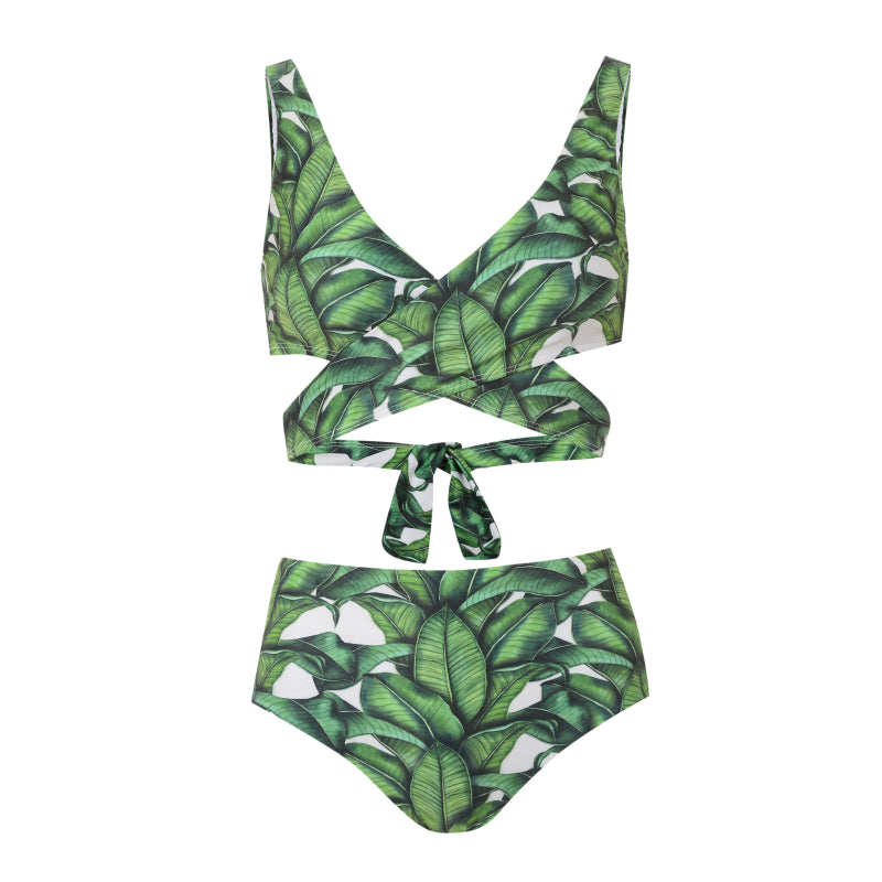 palm print bikini top and bottom with cut out detail