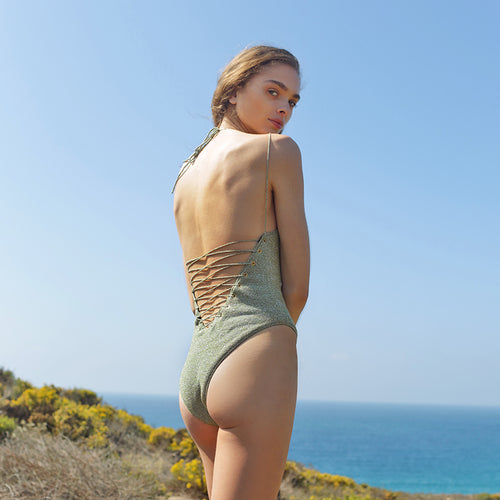 Solar lace-up back one piece - Moss