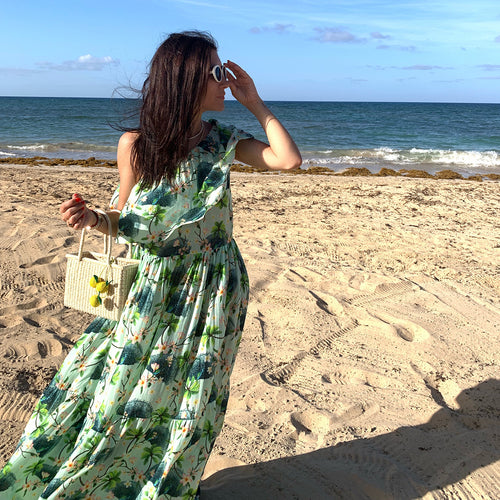 One shoulder printed maxi