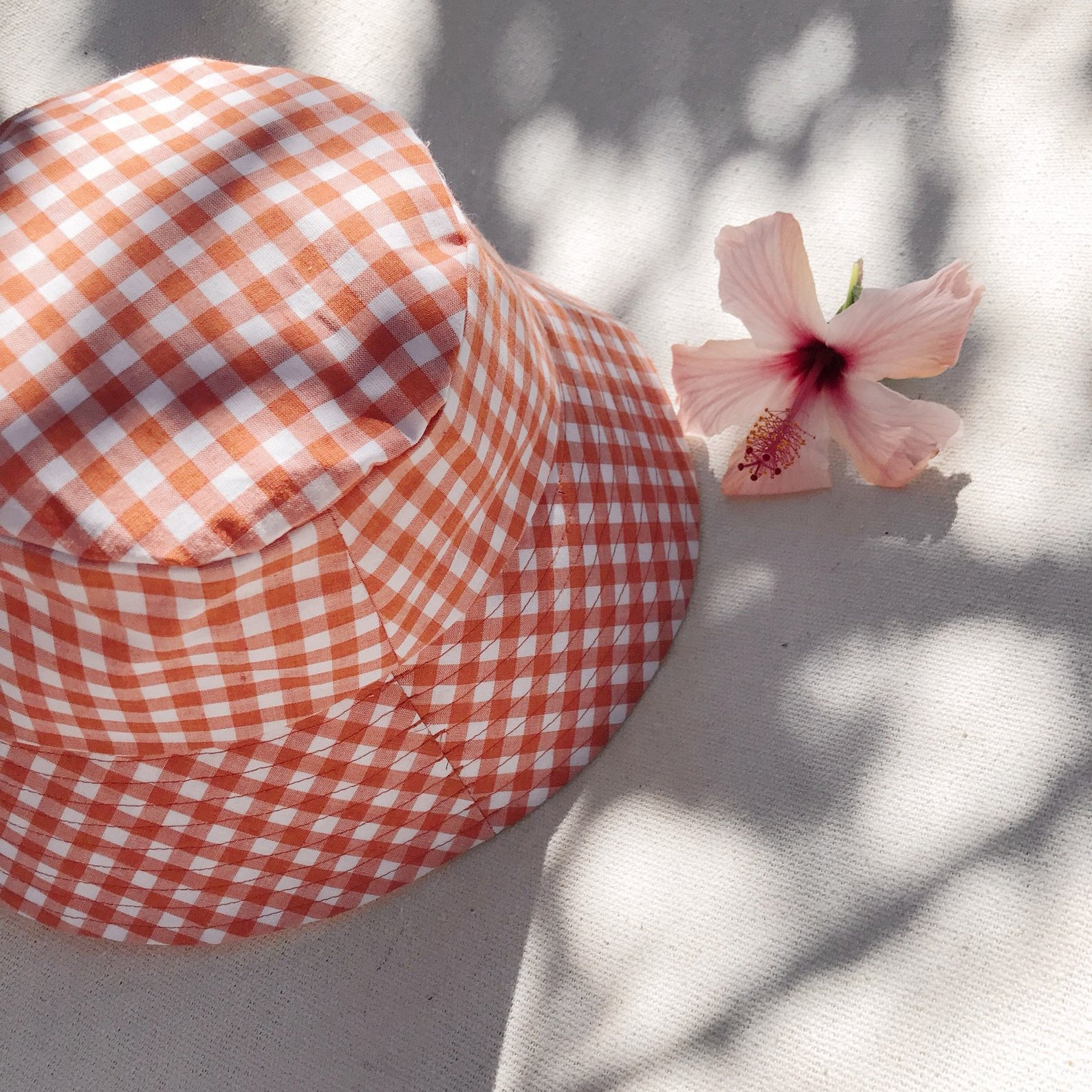 Papaya Gingham Bucket Hat