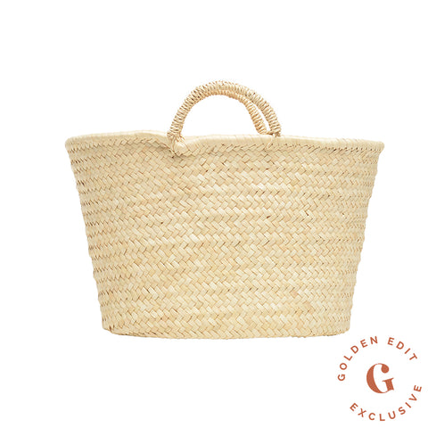 822933aedabe60 EXCLUSIVE small Mallorcan basket. Golden Edit. $90.00 USD. Bali toquilla  straw hat