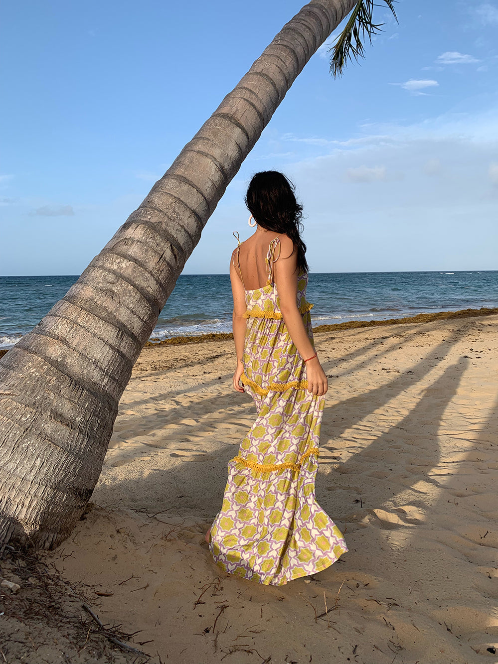 Wanderlust printed tiered maxi