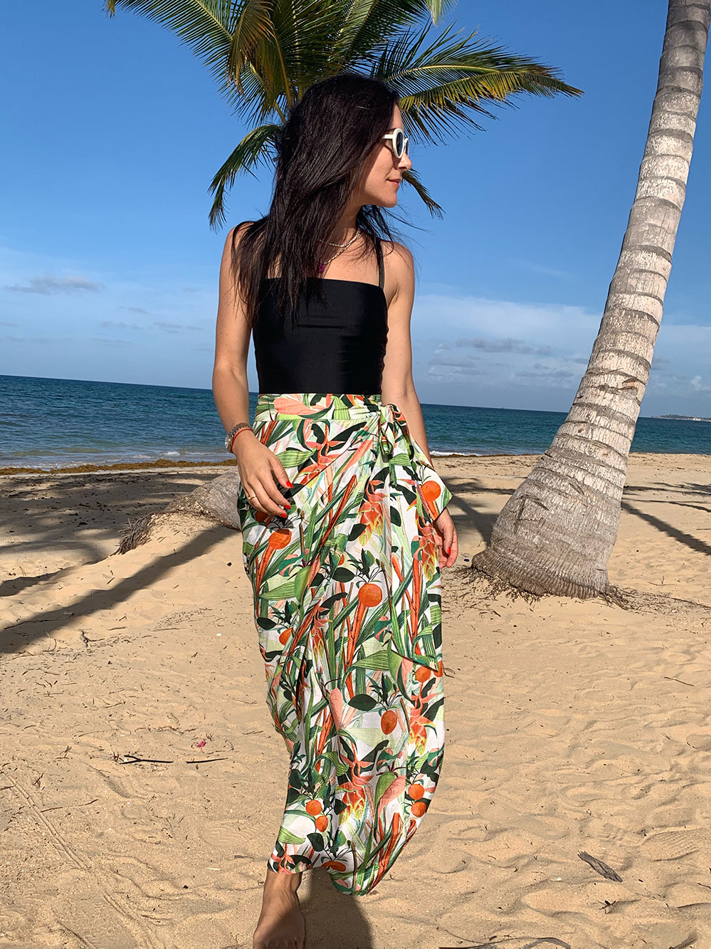 Printed wrap pareo skirt