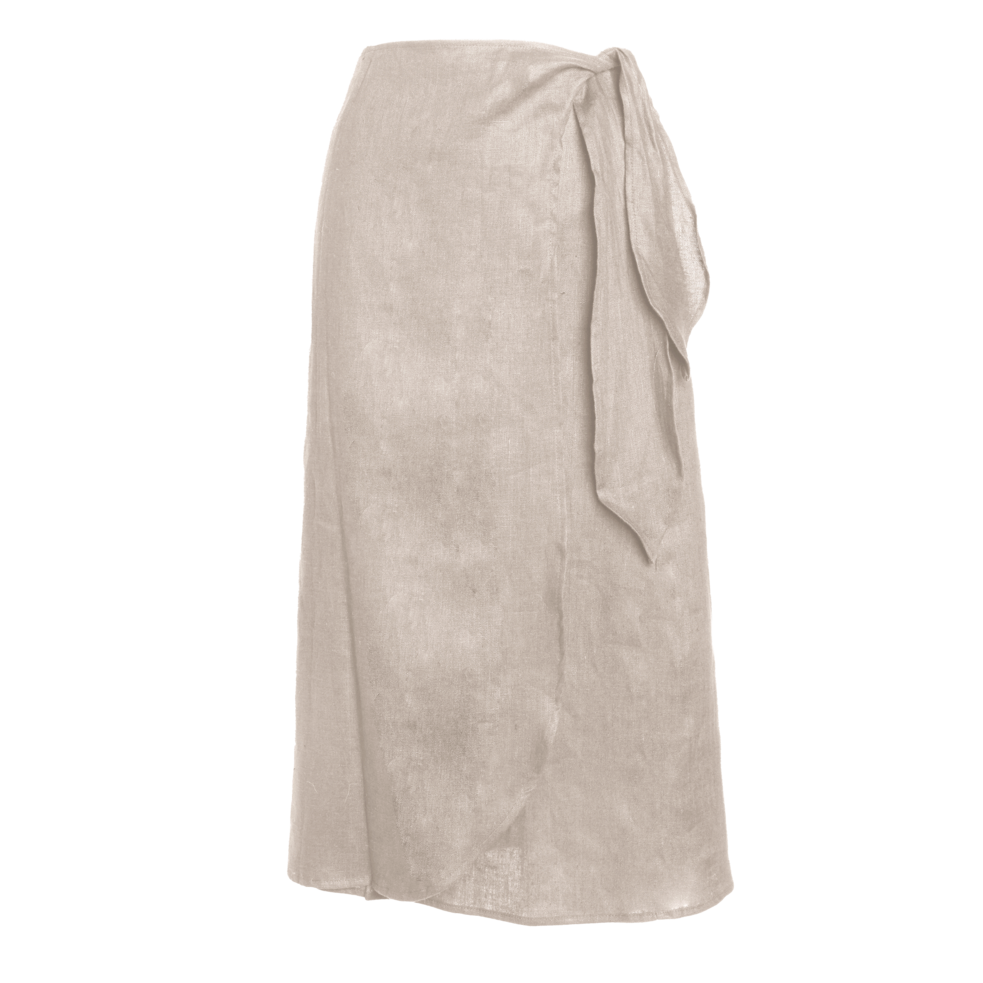 Midi Pareo wrap skirt in bone