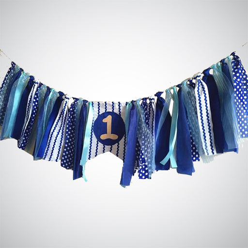 Boy's First Birthday Blue Ribbon Bunting Banner