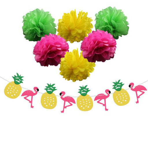 7pcs Tropical Tissue Paper Pom Pom and Flamingo Banner Decorations