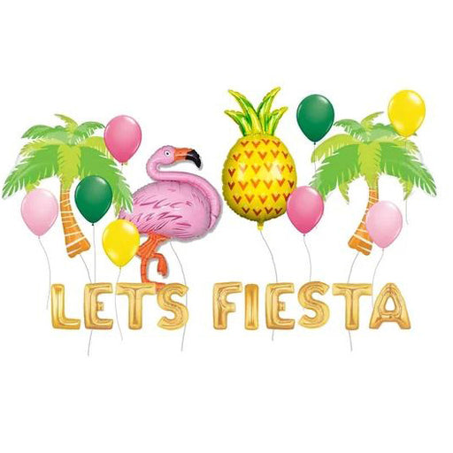 "22pcs ""Let's Fiesta"" Flamingo, Pineapple, and Palm Tree Tropical Balloon Set"