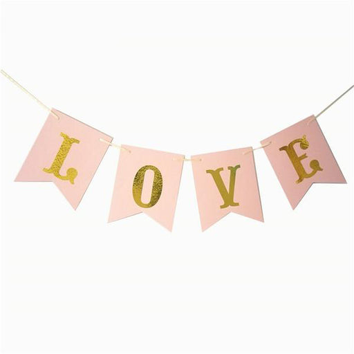 "Pink and Gold ""Love"" Valentine's Day Banner"
